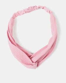 Black Lemon Knotted Hairband Pink