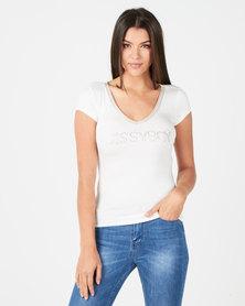 Sissy Boy Rondi  V Neck Logo With Bling Trim Off White