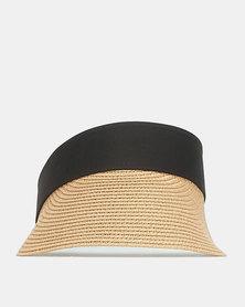 Black Lemon Visor Hat Tan
