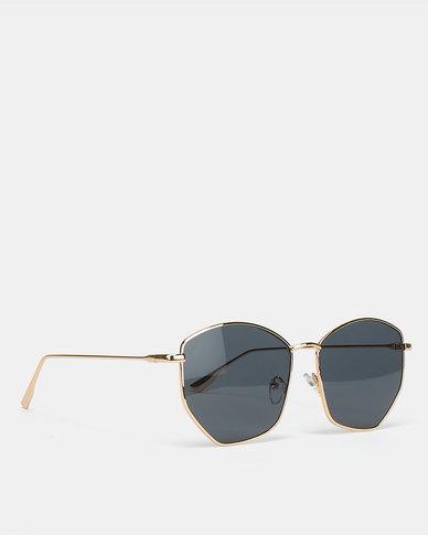 Black Lemon Hexagon Sunglasses Gold