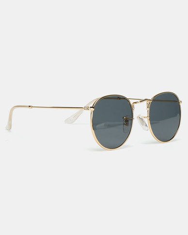 Black Lemon Round Sunglasses Gold-tone