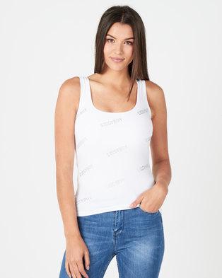 Sissy Boy Relvira All Over Sissyboy Bling Logo Vest Off White