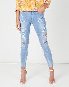 Sissy Boy Med Vintage Social Club Ryder Skinny Jeans With Rip & Repair Blue
