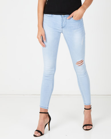 Sissy Boy Light Vintage Glistening Jon Jon Skinny With Rips Jeans Blue