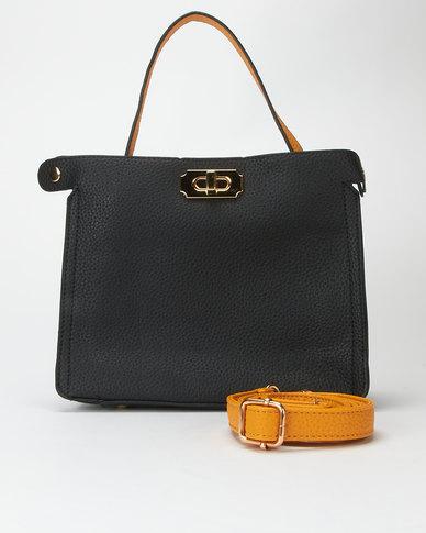 Utopia Two Tone Handbag Black/yellow