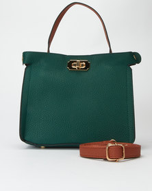 Utopia Two Tone Handbag Green/Tan