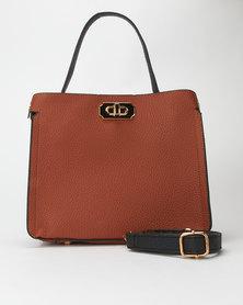 Utopia Two Tone Handbag Tan/Black