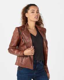 House of LB Bonnie Leather Jacket Brown