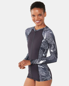 Hurley Domino Long Sleeve Rashguard Zip Black