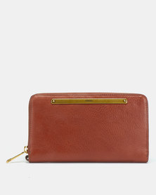 Fossil Liza Leather Clutch  Brown