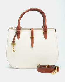Fossil Ryder Leather Satchel Bag White