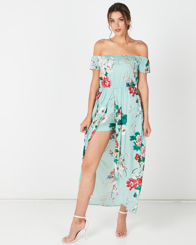 Utopia Floral Shirred  Playsuit With Skirt Seafoam