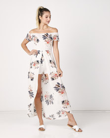 Utopia Floral Shirred  Playsuit With Skirt White