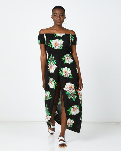 Utopia Floral Shirred  Playsuit With Skirt Black