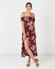 Utopia Floral Bardot Playsuit Red