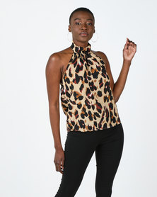 Utopia Animal Print Halterneck Top Brown