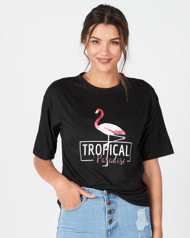 Utopia Flamingo Print Tee Black