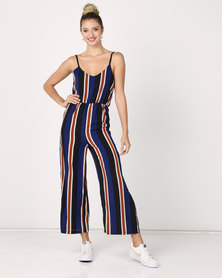 Utopia Stripe Strappy Jumpsuit Dark Blue/Red