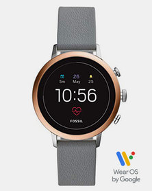 Fossil Q Venture Grey Leather Watch Rose Gold