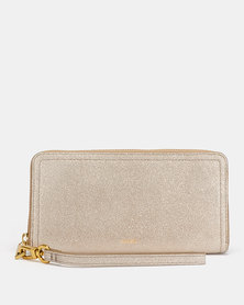 Fossil Logan Leather Zip Clutch Champagne