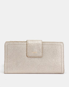 Fossil Logan Leather Tab Clutch Champagne
