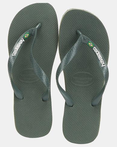 Havaianas Brazil Flag & Name Flip Flops Olive Green/Mono