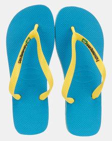 Havaianas Brazil Flag & Name Flip Flop Turquoise/ Citrus Yellow