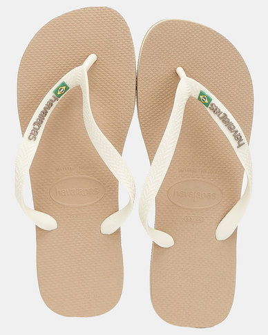 Havaianas Brazil Flag & Name Flip Flops Sand/ Beige