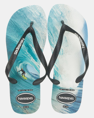 Havaianas Top Photoprint Flip Flops Blue/White/Black
