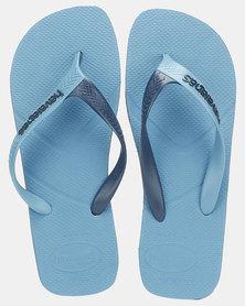 Havaians Casual Two Tone Strap Flip Flops Steel Blue/Navy Blue