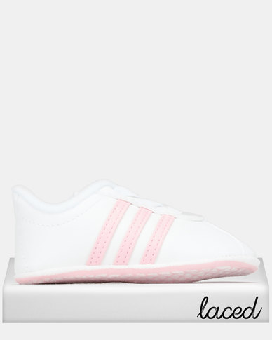 adidas Performance Infants Core Vl Court 2.0 Crib Sneakers White/True Pink