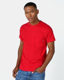 Beaver Canoe Swagga Crew Neck Slub Textured T-Shirt Crimson