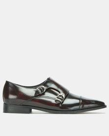 John Drake Hi Shine Monk Strap Shoes Burgundy