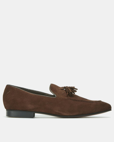 John Drake Suede Slip On Shoes Choc