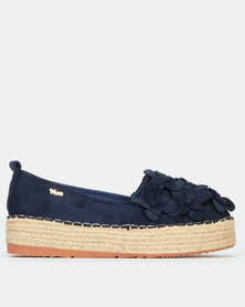 Plum Hattie Cut Flower Espadrille Navy
