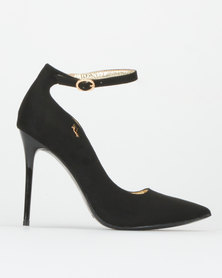 PLUM Leopard Ankle strap Court Shoes Black