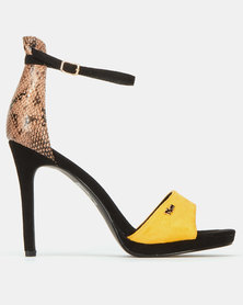 Plum Icy Snake Detail Col Block Heel Sandals Mustard