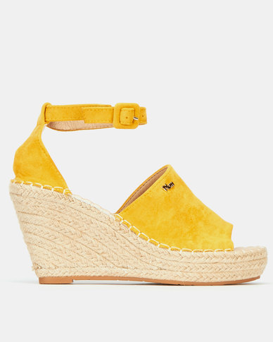 Plum Jungle Ankle Strap Espadrille Wedge Mustard