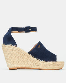Plum Jungle Ankle Strap Espadrille Wedge Navy