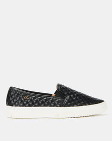 Plum Kelsey Cross Stitch Slip On Sneakers Black