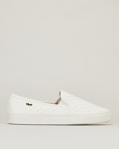 Plum Kelsey Cross Stitch Slip On Sneakers White