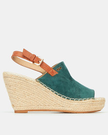 Plum Amazon Back Strap Espadrille Wedges Green