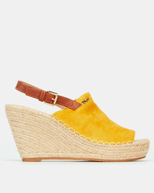 Plum Amazon Back Strap Espadrille Wedge Mustard