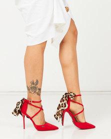 Plum Tenna Leopard Tie Detail Heels Red