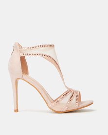 Plum T Bar Glamour Heels Rose Gold