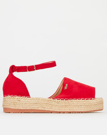 Plum Ankle Strap Espadrille Red