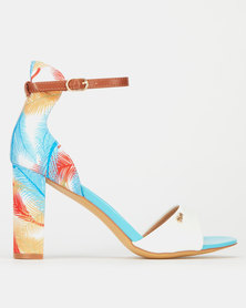 Plum Tropical Print Col Blk Heels White