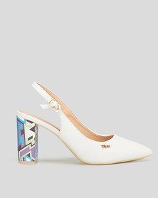 Plum Delica Geometric Heel Slingback Courts White