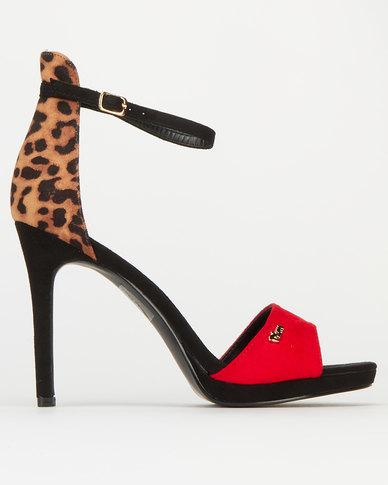 Plum Fiery Leopard Detail Col Block Heels Sandals Red