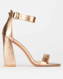 Plum Iglo Metallic Ankle strap Block Heels Rose Gold